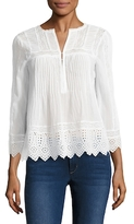 Rebecca Taylor Cotton Lace Paneled Top