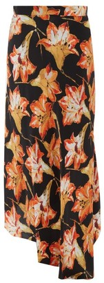 Raey Lily-print Dip-hem Silk Midi Slip Skirt - Womens - Red Print
