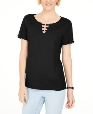 Karen Scott Triple-Ring Cutout Top, Created for Macy's