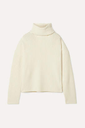 RE/DONE Oversized Ribbed Wool And Cashmere-blend Turtleneck Sweater - Ivory