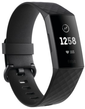 Fitbit Charge 3 Unisex Black Elastomer Band Touchscreen Smart Watch 22.7mm