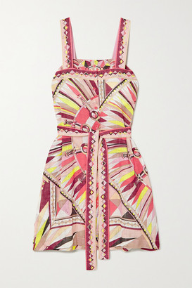 Emilio Pucci Belted Printed Cotton-voile Mini Dress - Pink
