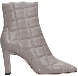 Lola Cruz High Heels Ankle Boots In Grey Leather
