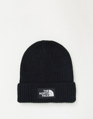 The North Face logo cuffed beanie in black