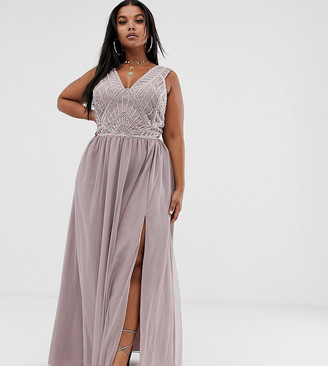 Asos DESIGN Curve maxi dress with tulle skirt and emebllished and pearl bodice