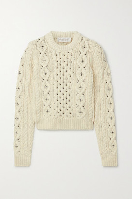 Michael Kors Embellished Cable-knit Cashmere Sweater - Cream