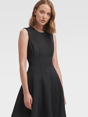 DKNY Women's Faux-leather Trim Fit-and-flare Dress - Black - Size XX-Small