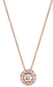 Bloomingdale's Champagne Diamond Halo Pendant Necklace in 14K Rose Gold, 0.48 ct. tw. - 100% Exclusive
