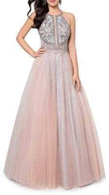Terani Couture Glamour By Embellished Tulle Evening Gown