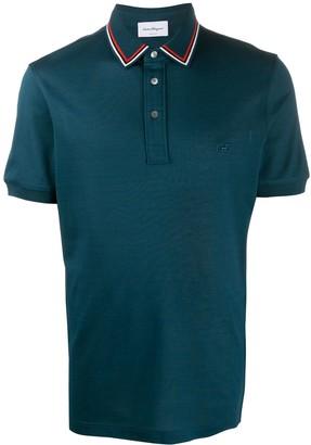 Salvatore Ferragamo Stripe Trim Polo Shirt