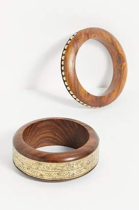 Free People Lola Wooden Bangle by Free People, Small Studded, One Size