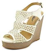 Lucky Brand Remyy Women Open Toe Canvas Ivory Wedge Sandal.