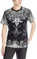 Southpole Men's Flock and Screen Print Graphic T-Shirt with Logo and Backgrounds