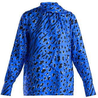Valentino Leopard And Tiger-print Silk Blouse - Womens - Blue Print
