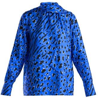 Valentino Leopard And Tiger-print Silk Blouse - Womens - Blue Print