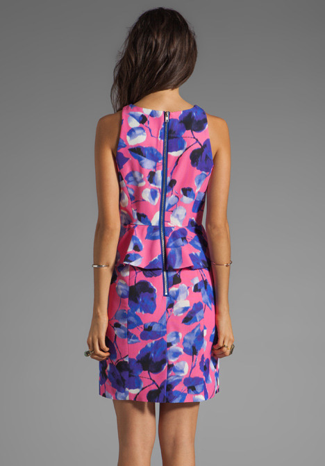Milly Ivy Print on Silk Cotton Faille Peplum Sheath Dress
