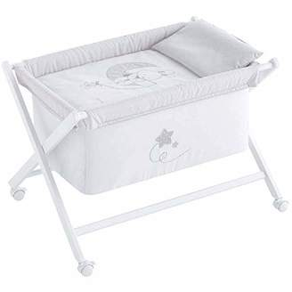 Camilla And Marc Mini Cot Folding Removable Wooden Legs White (50 x 80 cm) Lune Grey