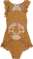 Zimmermann Good Times ruffled broderie anglaise and point d'esprit swimsuit