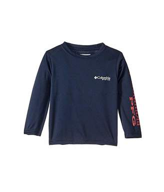 Columbia Kids Terminal Tackle Long Sleeve Tee (Toddler) (Collegiate Navy/Sunset Red) Boy's T Shirt