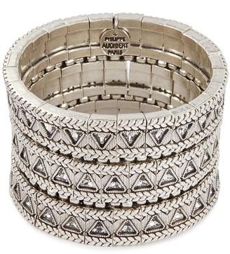 Philippe Audibert 'Clemence' Swarovski crystal braid effect three row elastic bracelet