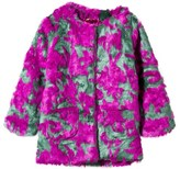 Le Big Pink and Green Faux Fur Textured Coat