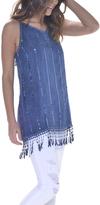 Paparazzi Blue Sequin Fringe Back-Cutout Tunic