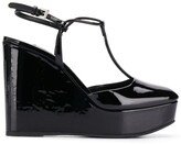 Prada square toe wedge pumps