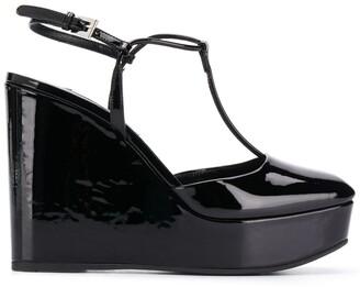 Prada square toe wedge pumps
