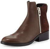 3.1 Phillip Lim Alexa Zip Leather Ankle Bootie, Chocolate/Espresso