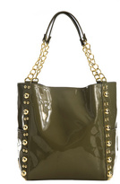 Patent Studded Tote