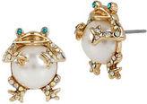 Betsey Johnson Faux Pearl Frog Stud Earrings