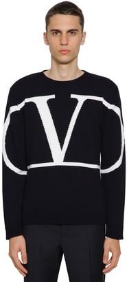 Valentino V Logo Cashmere Intarsia Knit Sweater