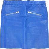 American Retro Blue Leather Skirt for Women