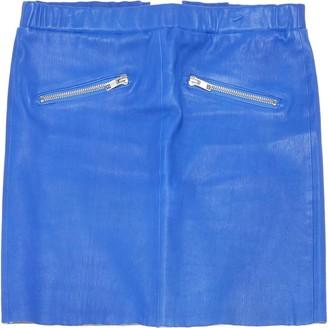 American Retro Blue Leather Skirts