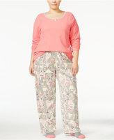 Hue Plus Size Microfleece Pajama Set with Socks