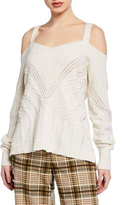 Jonathan Simkhai Cold-Shoulder Wool Sweater with D-Ring Straps