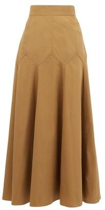 Three Graces London Aria Panelled Cotton-poplin Midi Skirt - Brown