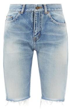 Saint Laurent High-rise Frayed-cuff Denim Shorts - Light Blue