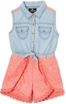 Dollhouse Light Blue Wash & Pink Denim Romper - Girls