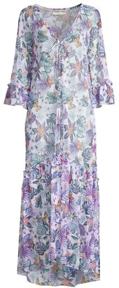 Chiara Boni Noura Illusion Butterfly & Leaf Print Maxi Dress