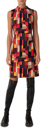 Akris Funnel-Neck Geometric Sheath Dress