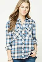 Forever 21 FOREVER 21+ Distressed Plaid Flannel Shirt