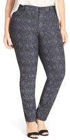 NYDJ Plus Size Women's 'Sheri' Snake Print Skinny Twill Jeans