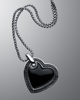 David Yurman Small Black Onyx Cable Heart Necklace