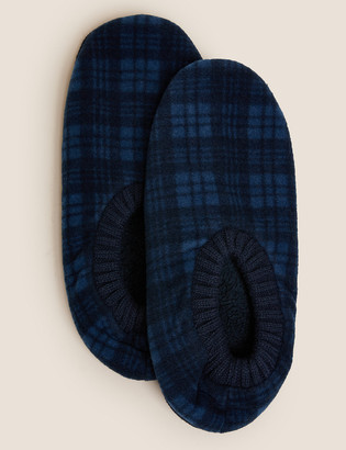 Marks and Spencer Checked Fleece Slipper Socks