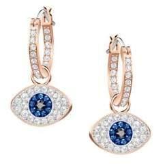 Swarovski Duo Evil Eye Rose-Goldplated Hoop Earrings