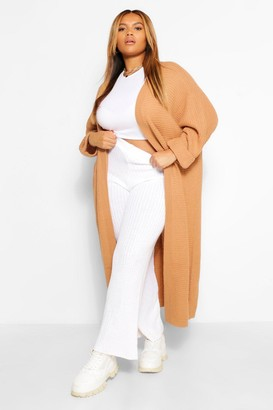 boohoo Plus Cocoon Oversized Rib Knit Cardigan