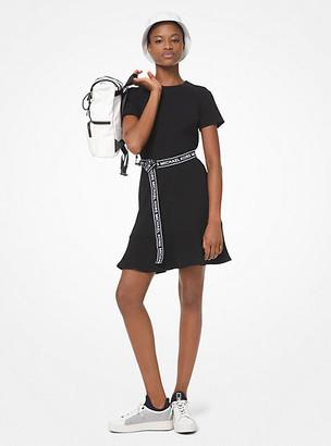 Michael Kors Logo Tape Belted Flounce Dress
