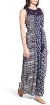 Lucky Brand Women's Macrame Yoke Drop Waist Maxi Dress