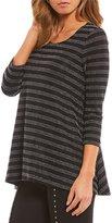Chelsea & Theodore Lurex Stripe Cold Shoulder Tunic
